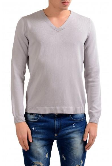 Malo Men's Cloud Gray V-Neck Pullover Sweater