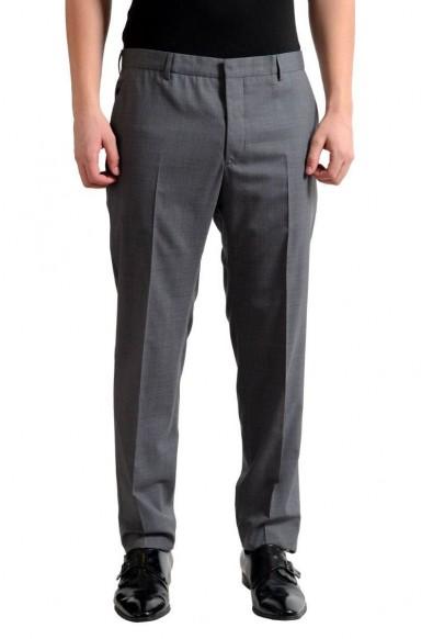 Prada Men's 100% Wool Gray Flat Front Dress Pants