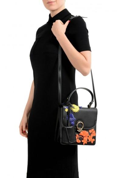 Versace 100% Leather Black Flower Embellished Women's Handbag Shoulder Bag: Picture 2