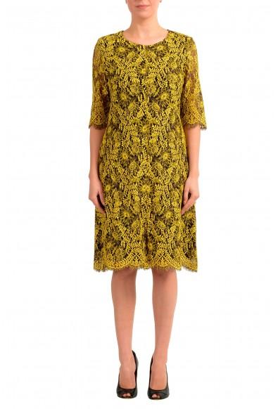 "Hugo Boss Women's ""Kirelia-1"" Yellow Lace Shift Dress"