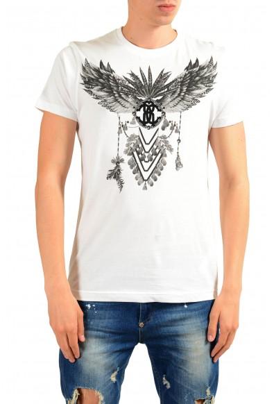 Roberto Cavalli Men's White Graphic Print T-Shirt