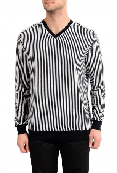 Kiton Men's Black & White Striped V-Neck Pullover Sweater