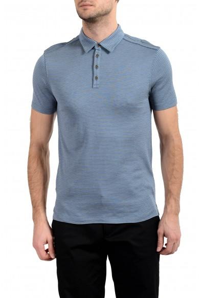 John Varvatos Light Blue Striped Silk Short Sleeve Men's Polo Shirt
