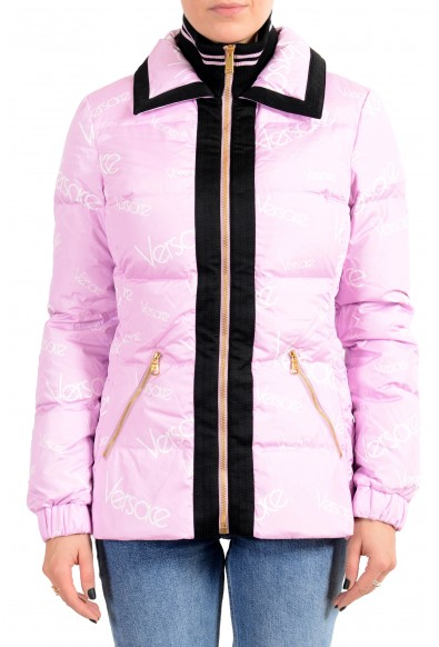 Versace Women's Pink Logo Print Full Zip Down Parka Jacket