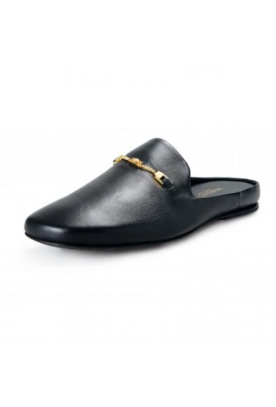 Versace Women's Black Leather Medusa Comfort Slingback Shoes