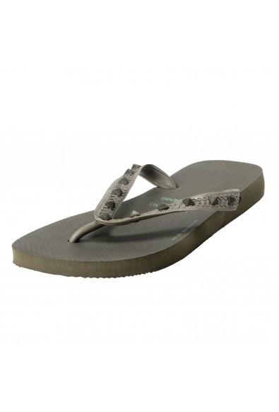 Valentino Garavani By Havaianas Women's Rockstud Army Gray Flip Flops Shoes