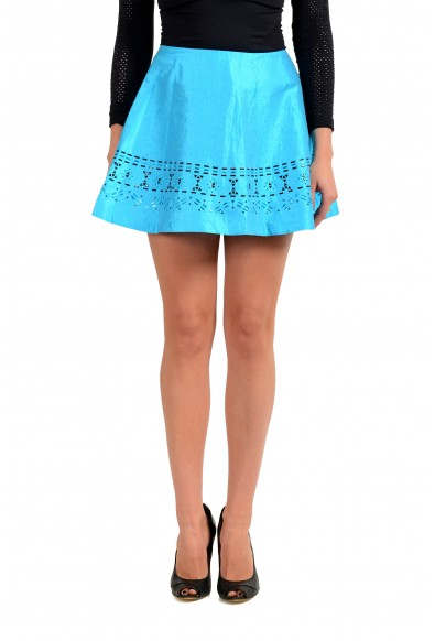 Just Cavalli Women's Bright Blue Embellished Flare Mini Skirt