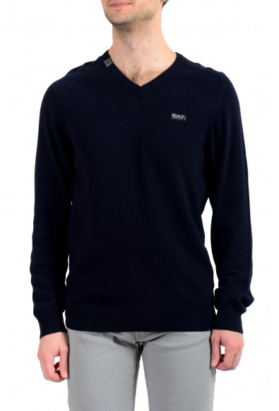 """Emporio Armani EA7 """"Golf"""" Men's Cashmere Wool Dark Blue V-Neck Sweater"""