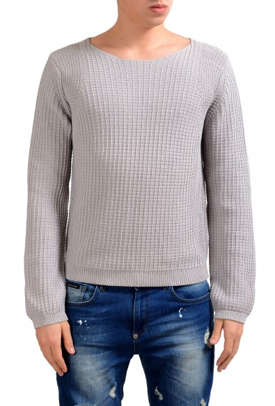 Malo Men's Boat Neck Gray Heavy Knitted Sweater