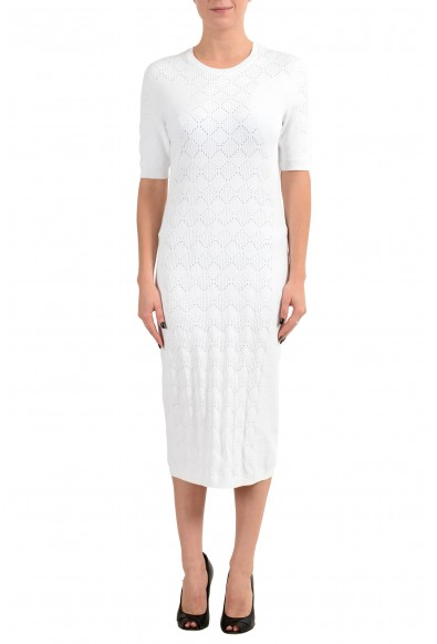 Versace Women's White Knitted Short Sleeve Sheath Dress