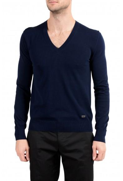 Burberry Men's Navy Blue V-Neck Sweater