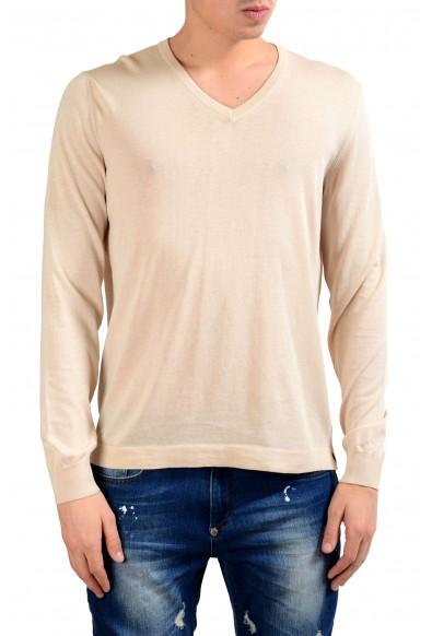 Malo Men's Cream White V-Neck Light Sweater