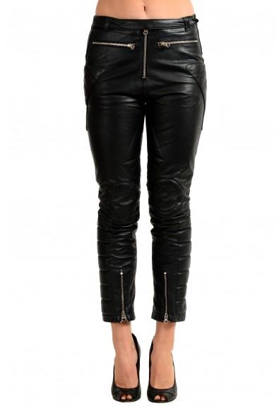 Maison Margiela MM6 100% Leather Black Women's Casual Pants