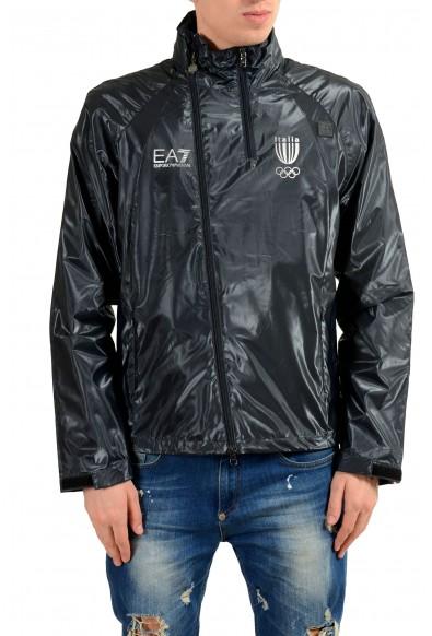 "Emporio Armani EA7 ""Italia Team"" Men's Blue Full Zip Hooded Windbreaker Jacket"