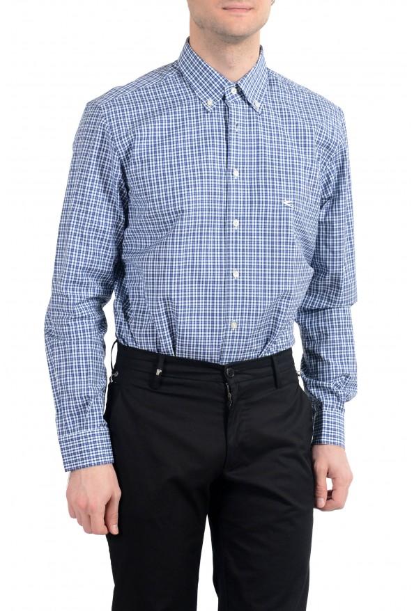 Etro Men's Blue & White Plaid Long Sleeve Dress Shirt : Picture 3