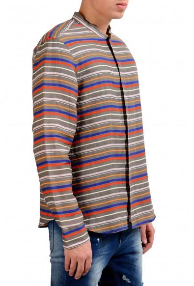 Armani Collezioni Men's 100% Linen Striped Button Front Casual Shirt: Picture 2