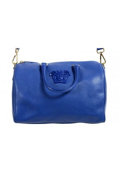 Versace Women's Blue Saffiano Leather Satchel Handbag Shoulder Bag: Picture 2