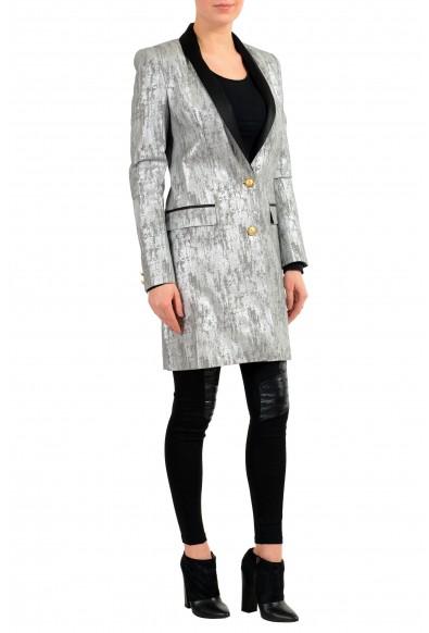 Versace Versus Silver Black One Button Women's Blazer Coat: Picture 2