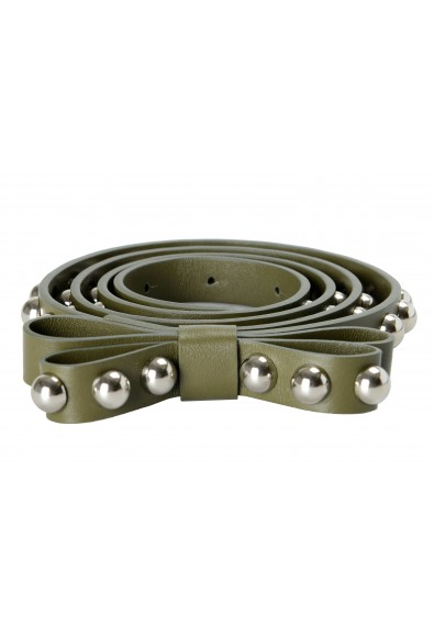 Red Valentino Leather Green Metal Beads Embellished Women's Belt