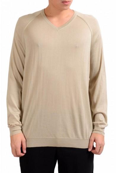 Malo Men's Beige V-Neck Silk Cashmere Light Pullover Sweater