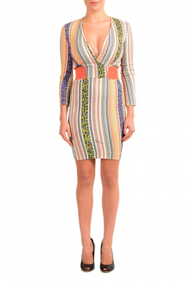 Just Cavalli Women's Multi-Color Deep V-Neck Bodycon Dress