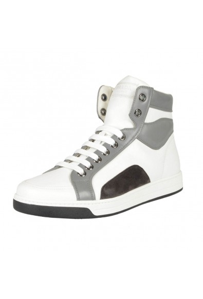 Prada Leather White Hi Top Fashion Sneakers Shoes