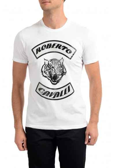 Roberto Cavalli Men's White Graphic Print Crewneck T-Shirt