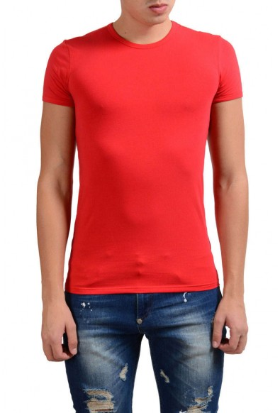 Versace Collection Men's Red Stretch Crewneck Short Sleeve T-Shirt