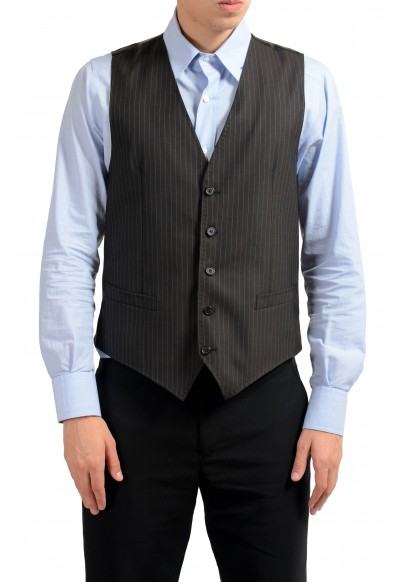 Dolce & Gabbana Men's 100% Wool Brown Striped Button Up Dress Vest