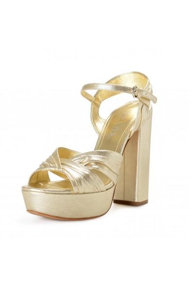 Prada Women's Gold Leather High Heel Platform Sandals Shoes
