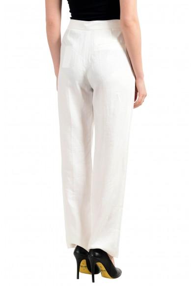 "Hugo Boss Women's ""Tewah"" White 100% Linen Flat Front Pants: Picture 2"