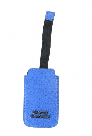Versace Collection Blue Pebbled Leather Key Chain
