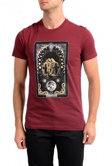 Roberto Cavalli Men's Red Graphic Print Crewneck T-Shirt
