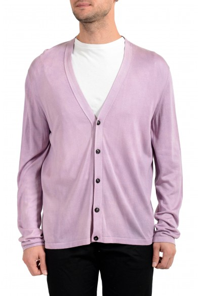 Versace Men's 100% Silk Purple Cardigan Pullover Sweater