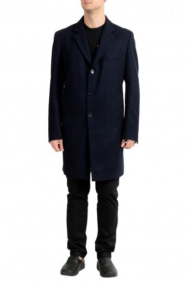 "Hugo Boss ""Nye1"" Men's Wool Dark Blue Three Button Coat"