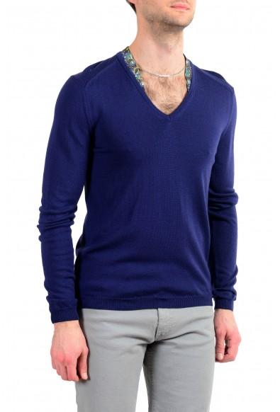 Just Cavalli Men's 100% Wool Dark Blue V-Neck Sweater : Picture 2