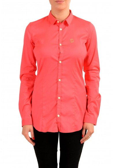 Dsquared2 Coral Red Long Sleeve Button Front Women's Shirt