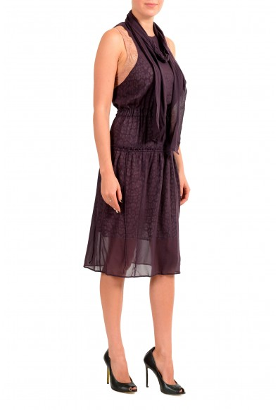 Just Cavalli Women's Purple Sleeveless A-Line Dress With Scarf: Picture 2