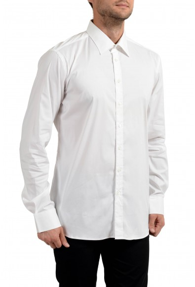Malo Men's White Stretch Long Sleeve Dress Shirt