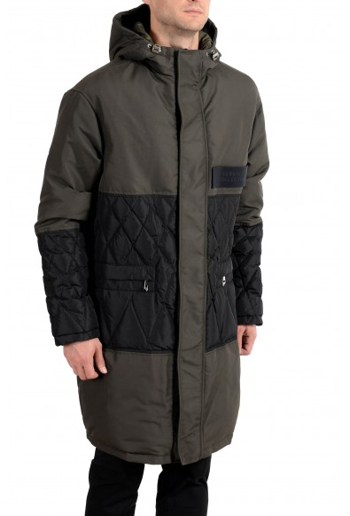 Versace Collection Men's Olive Green Down Full Zip Hooded Coat: Picture 2