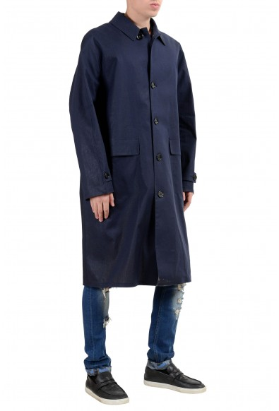 """Hugo Boss """"Garris"""" Men's Navy Blue Relaxed Fit Coated Trench Coat: Picture 2"""