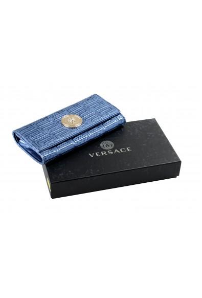 Versace Women's Sparkle Blue 100% Leather Medusa Embellished Wallet