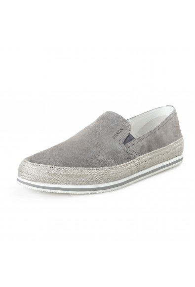 Prada Men's Gray Suede Leather Loafer Slip On Moccasins Shoes