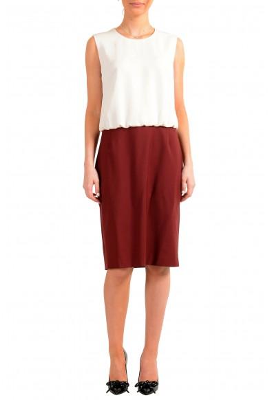 "Hugo Boss Women's ""Domona"" Two Tone Wool Sleeveless Pencil Dress"