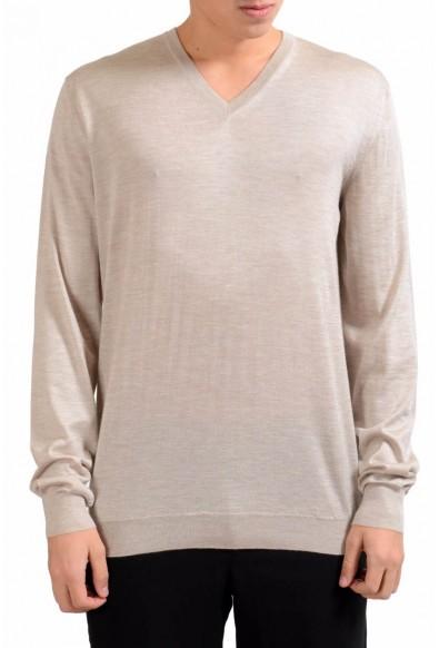 Malo Men's Beige Silk V-Neck Cashmere Light Pullover Sweater