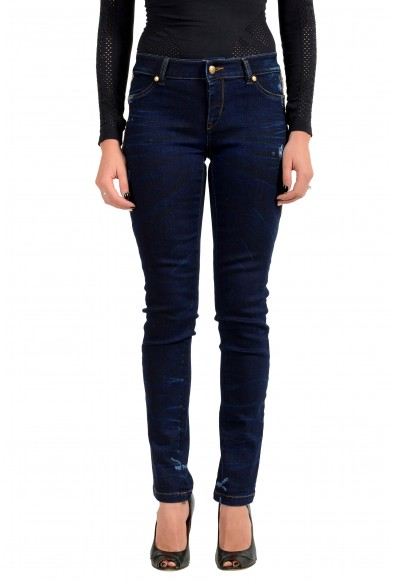 Just Cavalli Women's Distressed Dark Blue Jeggings Jeans