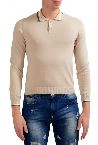 Malo Men's Beige Long Sleeve Polo Sweater