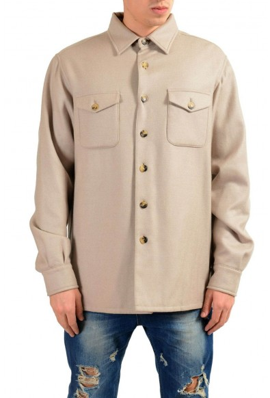Malo Men's 100% Wool Beige Button Up Jacket