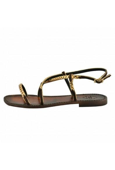 """Emanuela Caruso """"Capri"""" Women's Chain Trimmed Flat Sandals Shoes: Picture 2"""