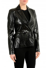 Gucci 100% Leather Black Double Breasted Women's Blazer: Picture 2